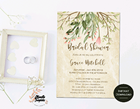 Greenery Bridal shower invitation Template