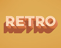 Free Retro Text Effect for Photoshop