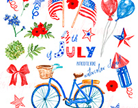 Watercoolor 4th of July clipart, design set collection