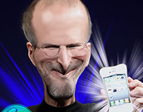 work on class- caricature steve jobs (photoshop)