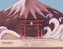 Thiết kế lịch phong cách Nhật Bản công ty giáo dục