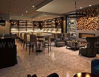 Commercial 3D Bar Interior Rendering Design View