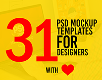 31 Free PSD Mockup Templates with Love for Designers!
