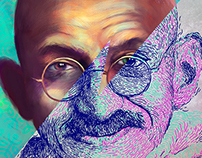 Gandhi - Digital portraits illustration