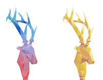 Polygonal designs of a stag's head.