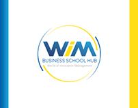 WIM Business School Hub: Marca, Tarjeta y Brochure.