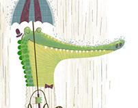 Alligator in the rain