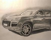 Hand drawn car (Porsche Cayenne). Pencil illustration