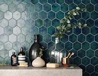 Blue Hexagon Tiles