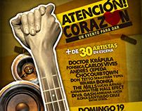 Afiche concierto benéfico Atención Corazón