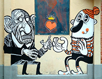 MURAL PAINTING: An old man and a vampire.