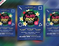 Free PSD : Summer Beach Party Flyer PSD Template
