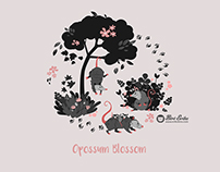 Opossum Blossom seamless pattern design