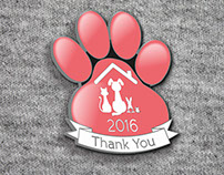 Support Adoption For Pets Enamel Pin Badge Design