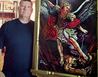 Saint Michael slaying the devil, finished painting