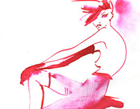 Blue and red China Ink fashion illustrations