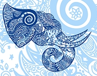 Elephant Doodle Desktop Wallpaper