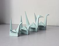 Decorative porcelain origami cranes I
