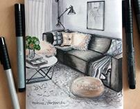Ручная визуализация интерьера, Hand Render Interior