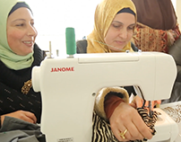 Lebanese and Syrian women of Akroum sewing friendship