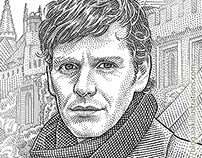 Stipple portraits of Shaun Evans and Roger Allam