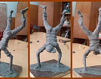 The upside down boy sculpture