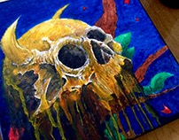 Painting of a skull dripping on a canvas
