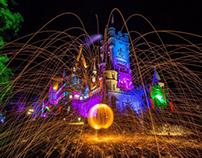 Lightpainting Schloss Burg Drachenfels