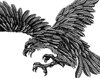 Engraving style illustration of animals