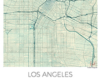 Los Angeles Map US, blue vintage watercolor