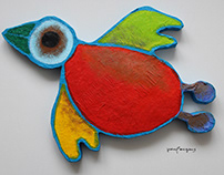 papier maché / styrofoam birds