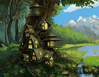 Elves' chores. Game backgrounds