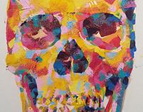 'Rainbow Skull' painting