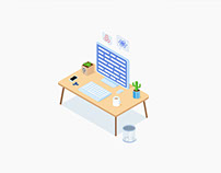 A Small Workspace Illustration made in Sketch
