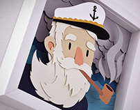 Sea papercut illustrations