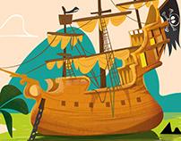Illustration livre jeunesse / bateau pirate