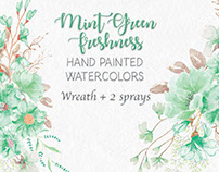 'Mint green freshness': hand painted watercolors