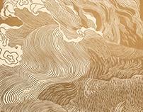 Roaring wave linocut