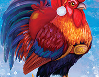 """A3 calendar """"Rooster and other Birds"""""""