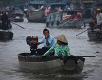Floating market, Mekong Delta.
