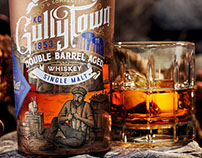 GullyTown Whiskey Label Illustrated by Steven Noble