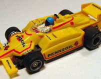 "Redesign of a famous 1990 toy:  ""TYCO electric race car"