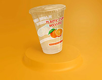 Flat Lid Disposable Transparent Plastic Cup Mockup