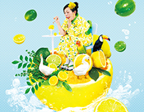 "Fruit&Kimono Art Photography Series - ""Lemon"" Collage"