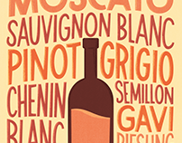 White Wine Varieties - Hand Lettered Poster