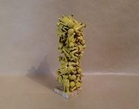 Yellow playmobil sculpture