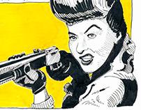 Barbara Stanwyck Magazine Caricature