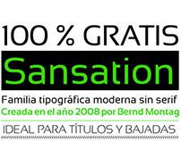 Especimen tipografico de la fuente Sansation