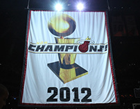 2012 MIAMI HEAT CHAMPIONSHIP RING AND BANNER CEREMONY
