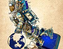 Ilustración el viaje mas grande de la humanidad